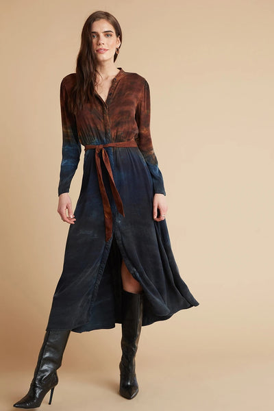 Autumn Sky Maxi Shirt Dress
