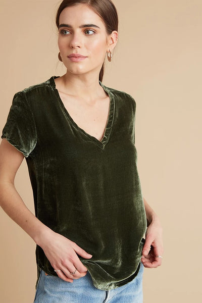 Bella Dahl V-Neck tee in Velvet Style Number W2960-707-302 in olive vine on shopbfree.com; women's velvet top; women's fall fashion; women's v-neck top; BfreeBabe; MyBfreeStyle; Women's online fashion boutique; Bella Dahl Clothing; Bfree_Boutique