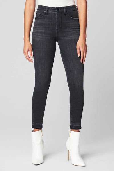 Blank NYC SUSTAINABLE DENIM RELEASE HEM BOND SKINNY JEAN Style Number 03VY1518 IPR;Women's Sustainable Denim;Women's Jeans;Women's Blank NYC JEans;Black Jeans;Women's Online Clothing and Accessories Boutique;Shopbfree;Bfree_Boutique;BfreeBabe;MyBfreeStyley