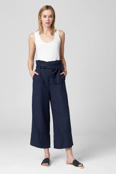 Paperbag Wide Leg Navy Pant