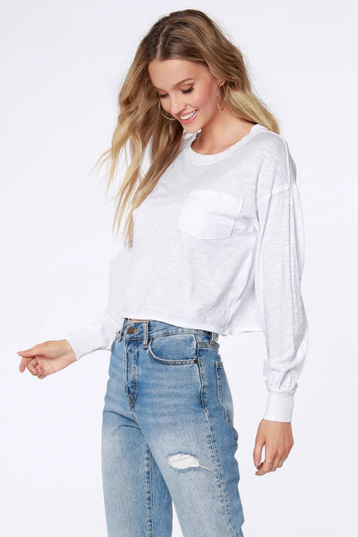 Bobi Clothing Long Sleeve Pocket Tee Style Number 57A-36131 in White;Women's Long Sleeve Tee;Women's Layering top;Women's Long Sleeve White Tee;Women's white top;women's Spring White Long Sleeve tee;Women's Online Clothing and Accessories Boutique;Shopbfree;shopbfree.com;Bfree Warwick;Bfree Wyckoff;Bfree_boutique;bfreebabe;MyBfreeStyle