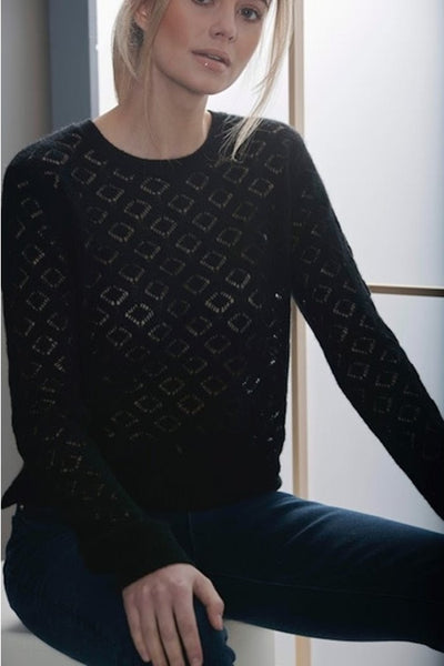 Brodie Cashmere Diamond Pointelle Crew in Black Style Number 20A-AR20 on shopbfree.com, BfreeBabe, MyBfreeStyle, Women's Fall Cashmere Sweater, Bfree_boutique, Shopbfree