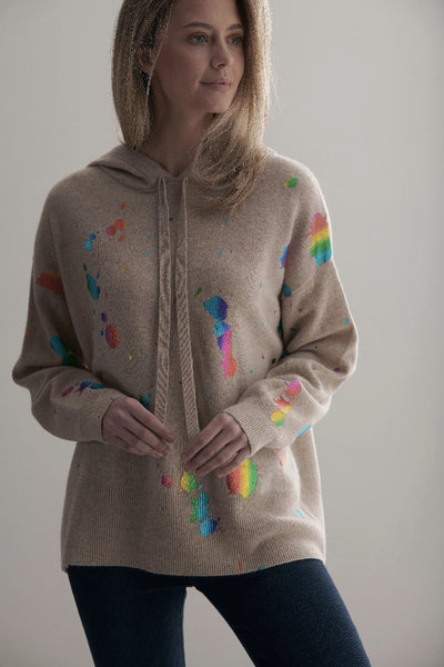 Brodie Cashmere Rainbow Foil Hoodie Stylr Number 20A-506 CYGNET in Natural with Rainbow Foil on shopbfree.com; Women's Cashmere Hoodie; Cashmere Sweater; Cashmere Hoodie with Rainbow Foil; Holiday Style; Women's Online Clothing and Accessories Boutique; Bfree_Boutique; MyBfreeStyle; BfreeBabe