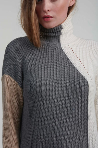 Brodie Cashmere Ribbed Colour Block Roll Neck in Slate Ice Water and Crema Style Number AW20-034 on shopbfree.com; The Perfect Fall Sweater; Women's Turtle Neck Sweater; Women's Online Boutique; Fall Fashion; BfreeBabe; MyBfreeStyle; Bfree_Boutique