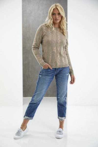 Brodie Cashmere Snake Foil Round Style Number 20A-507 In Organic Light Brown Snake Foil on Shopbfree.com; Women's Cashmere Sweater; Womne's Sweater; Women's Online Fashion and Accessories Boutique; Bfrodie Cashmere Sweater; BfreeBabe; MyBfreeStyle; Bfree_Boutique