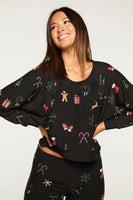 CHASER Clothing Holiday Stitches Top Style Number CW8445-CHA5847 TBlk;Women's Holiday Lounge Wear;Women's Holiday top;Fun Holiday top;Women's Fun Christmas Loungewear;Women's Online Clothing and Accessories Boutique;Shopbfree;Bfree_Boutique;BfreeBabe;MyBfreeStyle