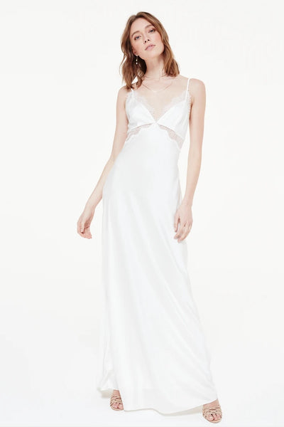 Cami NYC Tully White;Women's Silk Gown;White Silk Gown;Silk Dress;White Silk Dress;Women's Online Clothing and Accessories Boutique;shopbfree;Bfree_Boutique;BfreeBabe;Bridal Event Dress;Rehersal Dinner Dress;Engagement Party Dress
