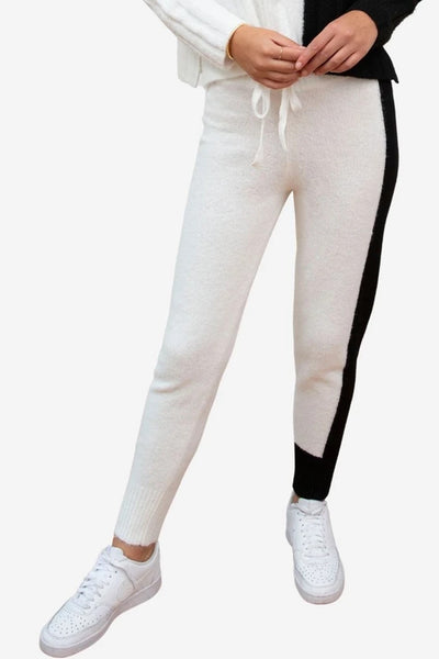 Central Park West Acacia Pant in Black and White Style Number C12472 BlkWht;Women's Spring Jogger;Women's Color Block sweatpant;Women's Spring Color Block Jogger Pant;Women's Knit Jogger;Back and White Jogger;Women's Knit Pant;Women's Online Clothing and Accessories Boutique;shopbfree;Bfree_boutique;bfreebabe;MyBfreeStyle;Women's Spring Loungewear;Women's Elevated Loungewear