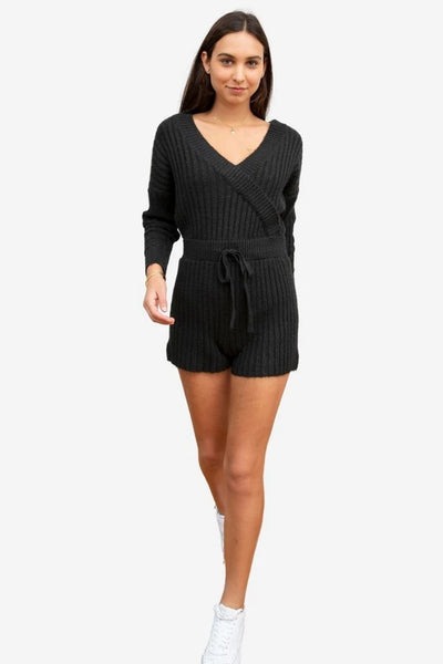 Central Park West Acacia Romper in Black Style Number C12474 Blk;Women's Knit Romper;Women's Knit Resort Romper;Women's Romper;Women's Online Clothing and Accessories Boutique;shopbfree;Bfree_boutique;MyBfreeStyle;bfreebabe