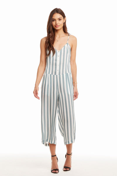 BUTTON FRONT CROPPED CAMI JUMPSUIT