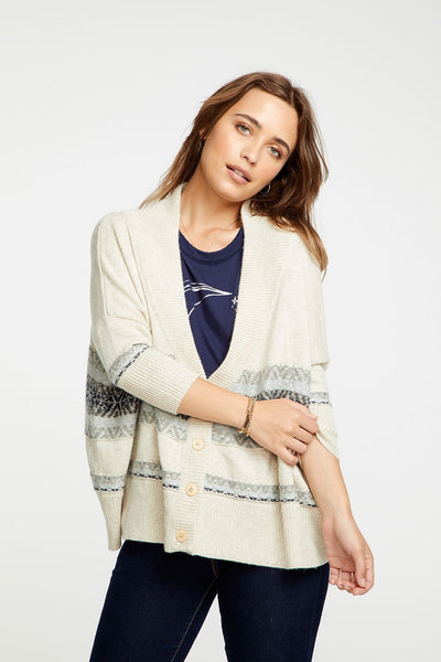 FAIR ISLE DROP SHOULDER OVERSIZED BUTTON DOWN