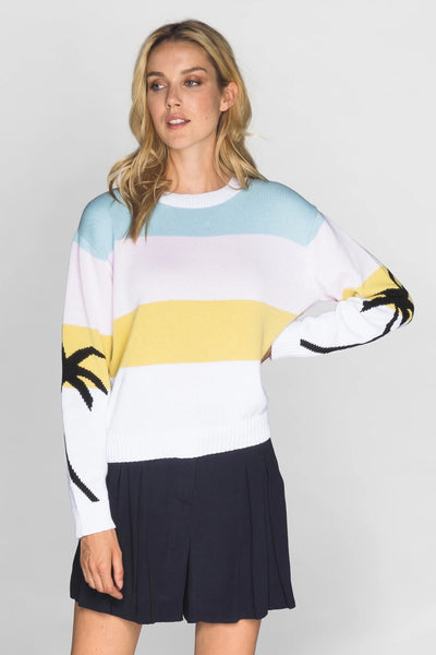 CHRLDR Pastel Palms - Dropped Shoulder Knit Style CL11529-100 in White on shopbfree.com