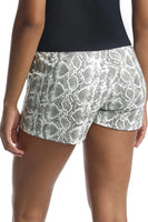 Commando Faux Leather Animal Relaxed Short Style SLG40 in White Snake on shopbfree.com bfreebabe