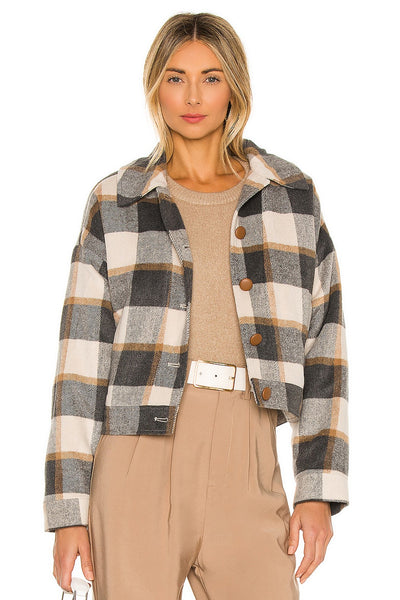 Cupcakes and Cashmere Gaia Shearling Lined Jacket Style Number CK402253 LHGry;Women's Jacket;Women's Holiday Gift Idea;Women's Outerwear;Women's Online Clothing and Accessories Boutique;Shopbfree;Bfree_boutique;bfreebabe;MyBfreeStyle;Women's Plaid Winter Jacket