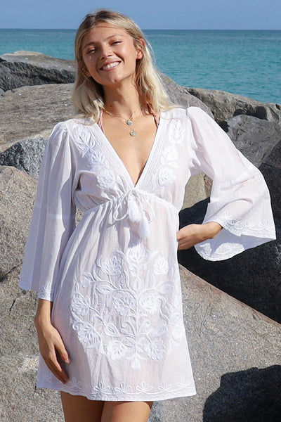 Debbie Katz Clothing Sharon Embroidered Tunic Dress in White;Resort Tunic;Women's Beach Tunic Dress;Women's Summer Styles;Women's Online Clothing and Accessories Boutique;Shopbfree;shopbfree.com;Bfree Warwick;Bfree Wyckoff;Bfree_boutique;bfreebabe;MyBfreeStyle