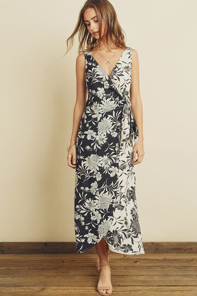 Dress Forum Day and Night Floral Wrap Dress Style Number FD4226 BlkIvy in Black and Ivory;Women's Spring Dress;Wrap Dress;Casual Dress;Casual Wrap Dress;Summer Dress;Women's Online Clothing and Accessories Boutique;Shopbfree;shopbfree.com;Bfree Warwick;Bfree Wyckoff;Bfree_boutique;bfreebabe;MyBfreeStyle