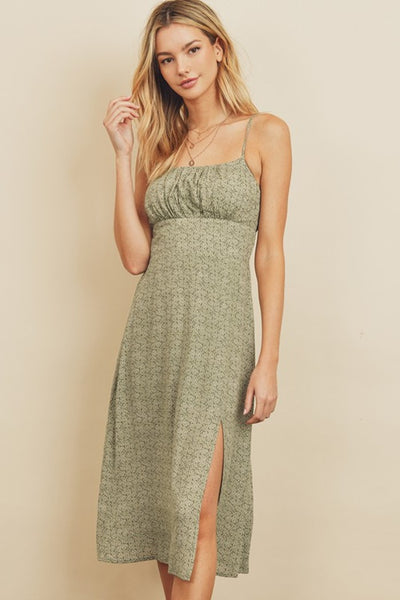 Dress Forum Floral Smocked Back Midi Dress Style Number FD4383 Sage;Women's Spring Dress;Dress;Casual Dress;Casual Summer Dress;Women's Online Clothing and Accessories Boutique;Shopbfree;shopbfree.com;Bfree Warwick;Bfree Wyckoff;Bfree_boutique;bfreebabe;MyBfreeStyle