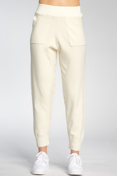 Elan Clothing Tara Knit Jogger Style Number SW2225 OWHT in Off White;Women's Lounge Joggers;Women's Spring Lounge Wear;Women's Online Clothing and Accessories Boutique;Shopbfree;shopbfree.com;Bfree Warwick;Bfree Wyckoff;Bfree_boutique;bfreebabe;MyBfreeStyle