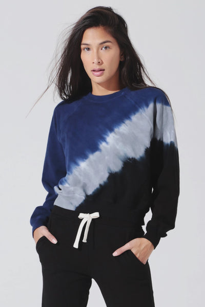 Electric & Rose Ronan Pullover in Echo Wash Silverlake Blue Thunder and Onyx Style Number LFCV08-ECHOSBTO on shopbfree.com; Women's Activewear; women's Athleticwear; Electric and rose Pullover; BfreeBabe; MybfreeStyle; Bfree_boutique