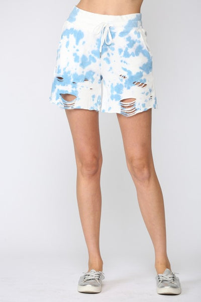 Fate by LFD Clothing TIE DYE DISTRESSED SHORTS Style Number FP3459 In Color Sky Blue;Women's Tie Dye Distressed Shorts;Women's Tie Dye Shorts;Women's Spring Tie Dye distressed shorts;Women's Online Clothing and Accessories Boutique;Shopbfree;shopbfree.com;Bfree Warwick;Bfree Wyckoff;Bfree_boutique;bfreebabe;MyBfreeStyle