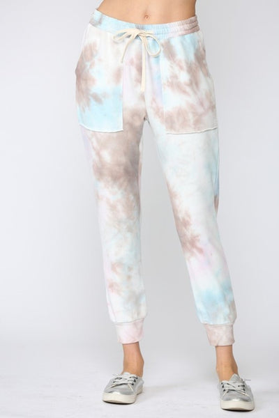 Fate by LFD Clothing TIE DYE FRENCH TERRY JOGGER PANTS style NUmber FP3536 in Blush Latte;Women's Tie Dye Joggers;Women's French Terry Jogger;Women's Spring Tie Dye Jogger Pant;Women's Online Clothing and Accessories Boutique;Shopbfree;shopbfree.com;Bfree Warwick;Bfree Wyckoff;Bfree_boutique;bfreebabe;MyBfreeStyle