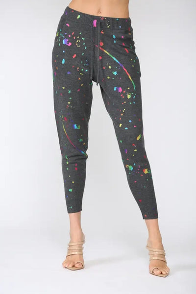 Fate By Lfd Paint SPlatter Knitted Jogger Pants in Charcoal Style Number FW3024 on shopbfree.com; Women's Jogger; Sweatpant; Paint Splatter; Women's Online Boutique; BfreeBabe; MyBfreeStyle; Bfree_boutique