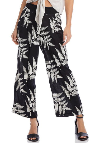 Fifteen Twenty Clothing Embroidered Cropped Pant Style Number 1F29061 BLC in Black Cream;Women's Cropped Wide Leg Pant;Women's Spring Embroidered Pant;Women's Black Palm Embroidered Pant;Fifteen Twenty Black Pant with embroidered Palm Leaves;Women's Online Clothing and Accessories Boutique;shopbfree;Bfree_Boutique;BfreeBabe;MyBfreeStyle;Women's Cropped Pant