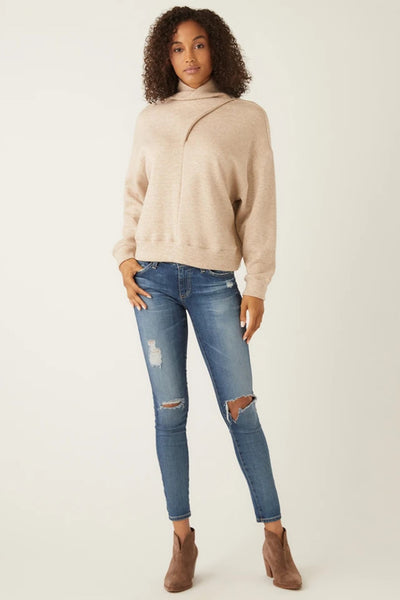 Fifteen Twenty Faux Wrap Top In Oatmeal Style Number 4F05546 Oat;Women's Top;Fifteen-Twenty Top;Women's Fashion Sweatshirt;Fall Top;Taupe Top;Women's Online Clothing and Accessories Boutique;Shopbfree;Bfree_Boutique;MyBfreeSTyle;BfreeBabe;
