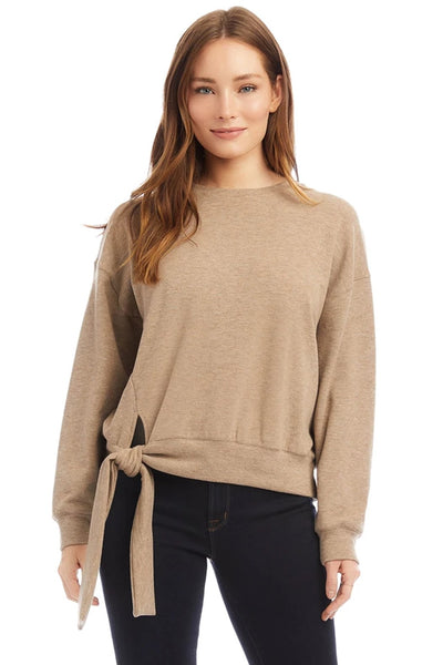 Fifteen Twenty Side Tie Top Style Number 3F18559 in Taupe;Women's Top;Fifteen-Twenty Top;Women's Fashion Sweatshirt;Fall Top;Taupe Top;Women's Online Clothing and Accessories Boutique;Shopbfree;Bfree_Boutique;MyBfreeSTyle;BfreeBabe;