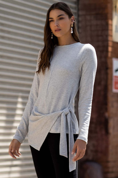 Fifteen Twenty Side Tie Top Style Number 4F39030 LHG;Hoiday Style;women's Holiday Gift Idea;Women's Side Tie Top;Women's Heather Grey Chic Top;Women's Chic Top;Women's On Trend Top;Women's Casual Chic Holiday Top;Women's Knit Top;Women's Online Clothing and Accessories Boutique;Shopbfree;Bfree_boutique;bfreebabe;MyBfreeStyle