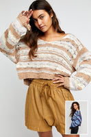 Free People Clothing Lake Life Pullover Style Number OBOB1247674 in Colors Sunset Sand Combo and Bottled Blue Combo;Women's Spring Sweater;Free PEople Sweater;Women's Cropped Spring Sweater;Women's Online Clothing and Accessories Boutique;Bfree Warwick;Bfree Wyckoff;Bfree_boutique;bfreebabe;Shopbfree;shopbfree.com;MyBfreeStyle