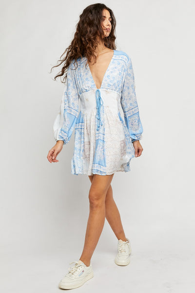 Free People Clothing Mixin it Up Mini Style Number OB1258449 in Sky Combo;Women's Spring dress;Dress;Summer Dress;Sky Blue Mini Dress;Women's Online Clothing and Accessories Boutique;Shopbfree;shopbfree.com;Bfree Warwick;Bfree Wyckoff;Bfree_boutique;bfreebabe;MyBfreeStyle