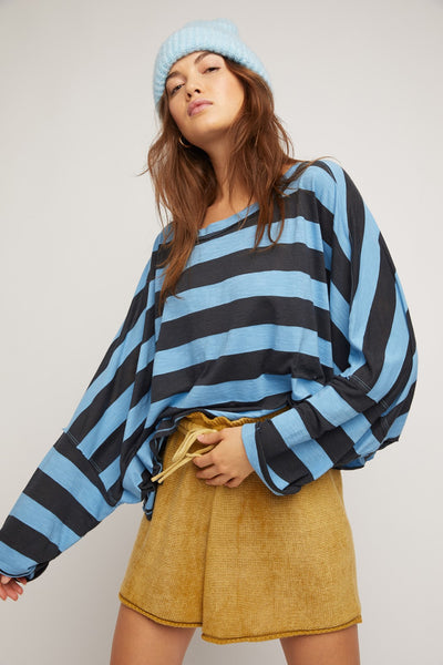 Free People East West Tee Stripe Style Number OB1237596 in Bottled Blue;Women's Striped Tee;Women's Spring Tee;Free People Tee;Free People Striped Tee Shirt;Free People Clothing;Women's Online Clothing and Accessories Boutique;Shopbfree;shopbfree.com;Bfree Warwick;Bfree Wyckoff;Bfree_boutique;bfreebabe;MyBfreeStyle