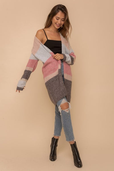 Hem and Thread Color Block Open Sweater Cardi Style Number 8367W in Pink Blue and Charcoal;Women's Color Block Sweater Cardigan;Women's Sweater;Cardigan;Women's Fall Cardigan;Women's Online Clothing and Accessories Boutique;Shopbfree;Bfree_Boutique;MyBfreeStyle