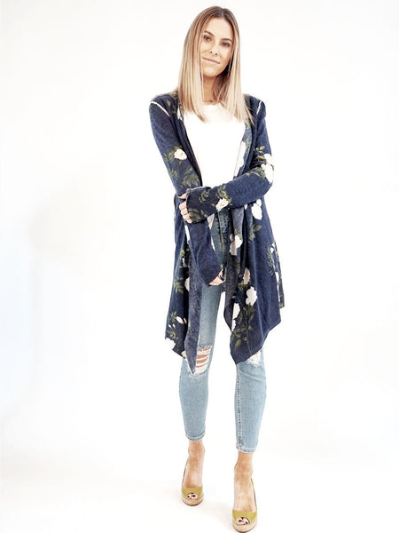 Sapphire Floral Open Cardigan