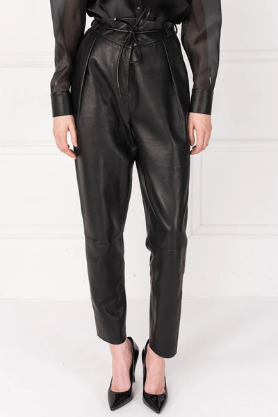 Lamarque  UMAY Tapered Leather Pants Style Number Umay Blk;Women's Leather Pants;Women's Pant;Women's online Fashion and Accessories Boutique;Shopbfree;Bfree_boutique;bfreebabe;MyBfreeStyle