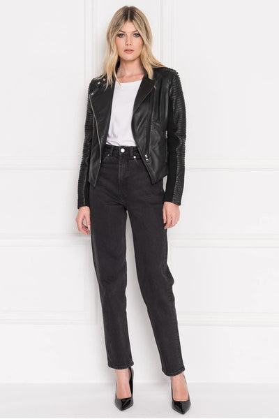 Lamarque Azra Signature Leather Jacket With Striped Sleeves in Black on Shopbfree.com, BfreeBabe, MyBfreeStyle, Shopbfree, Bfree_Boutique, Women's Leather Jacket