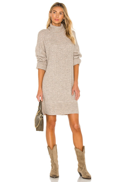 Line and Dot Clothing Madelyn Turtle Neck Sweater Dress Style Number LD4330L inTaupe;Women's Holday Dress;Women's Sweater Dress;Dress;Turtle Nech Dress;Taupe Dress;Holiday Dress;Winter Dress;Women's Holiday Gift Idea;Women's Online Clothing and Accessories Boutique;Shopbfree;Bfree_boutique;bfreebabe;MyBfreeStyle