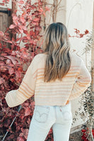 Love Stitch Trendy Pullover Stripped Knit Sweater Style Number I50452PJO in Sand with orange and mint Stripes;WOmen's Striped Spring Sweater;Women's Online Clothing and Accessories Boutique;Shopbfree;shopbfree.com;Bfree Warwick;Bfree Wyckoff;Bfree_boutique;bfreebabe;MyBfreeStyle