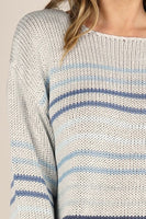 Love Stitch Trendy Pullover Stripped Knit Sweater Style Number I50452PJO in Silver Navy Light Blue Stripe;Spring Sweater;Spring Striped Sweater;White Sweater;Women's White Crew Neck Sweater;Women's Spring Sweater;Women's Online Clothing and Accessories Boutique;Shopbfree;shopbfree.com;Bfree Warwick;Bfree Wyckoff;Bfree_boutique;bfreebabe;MyBfreeStyle