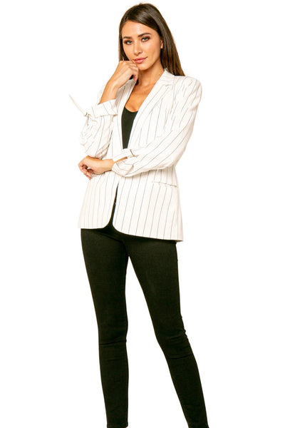 JIM RUCHED SLEEVES STRIPED BLAZER JACKET