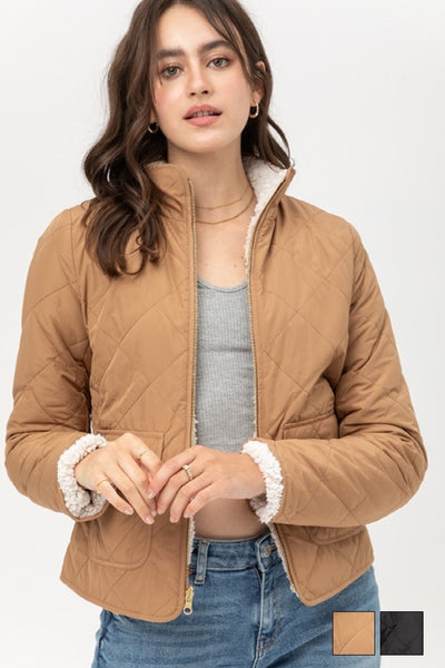 Love Tree Clothing Pola Quilted Reversible Jacket;Women's Quilted Jacket;Women's JAcket;Women's Reversible Jacket;Women's Online Clothing and Accessories Boutique;Shopbfree;Bfree_Boutique;BfreeBabe;MyBfreeStyle
