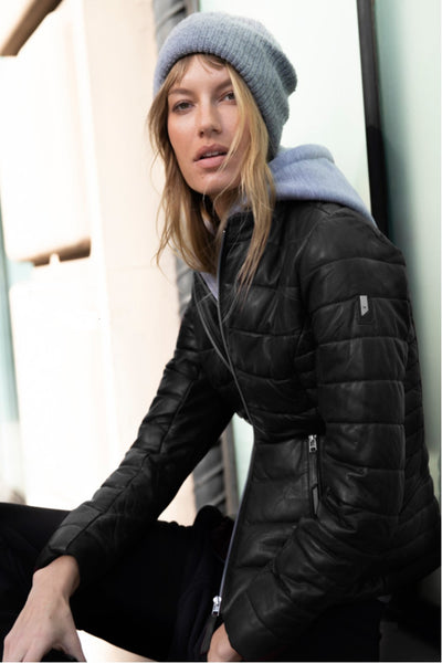 Mauritius Robin CF Hooded Leather Puffer Jacket on Shopbfree.com; Women's Leather Jacket; Mauritius LEather Jacket; BfreeBabe; MyBfreeStyle; Bfree_Boutique