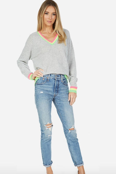 Michael Lauren Clothing Dane Varsity V-Neck Cashmere Top Style Number ML-5487-CSM in Heatjer Grey and Neon;Women's Cashmere top;Women's Spring Cashmere;Women's V-neck;Women's Spring Casmere V-Neck;Women's Spring Varsity Style Sweater;Women's Online Clothing and Accessories Boutique;Bfree Warwick;Bfree Wyckoff;Bfree_boutique;bfreebabe;Shopbfree;shopbfree.com;MyBfreeStyle