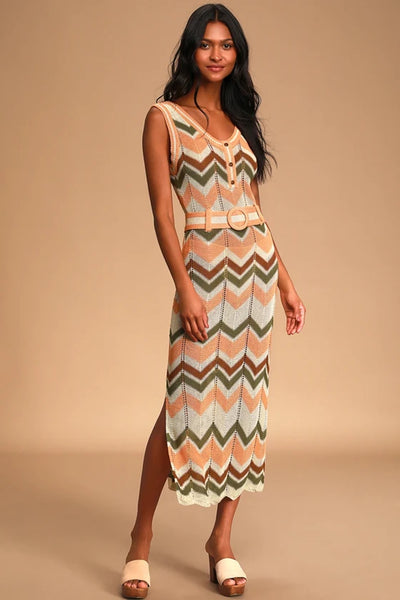 Moon River Illea Crochet Belted Maxi Dress Style MR5961 On Shopbfree.com