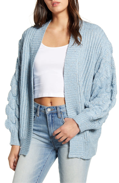 Bubble Sleeve Open Cardigan