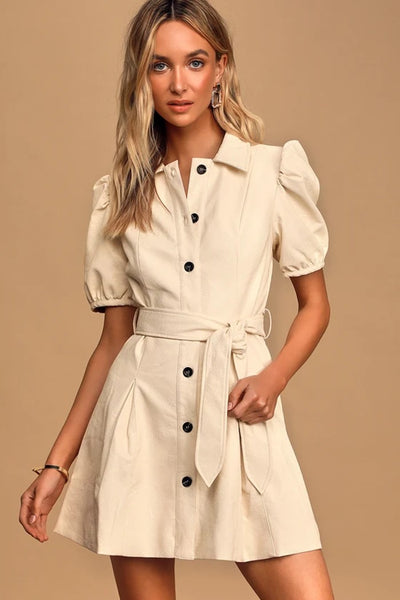 Cream Vegan Leather Puff Sleeve Button-Front Mini Dress