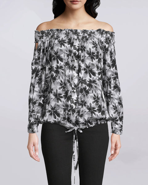 PAINTED FLOWERS SMOCKED OFF THE SHOULDER TOP