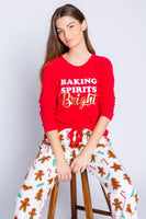 PJ Salvage Baking Spirits Bright PJ Top Style Number RVFFLS Red;Women's Pajamas;Women's Winter Pajamas;Women's Christmas Pajamas;Women's Holiday Gift Idea;Women's online Clothing and Accessories Boutique;Shopbfree;Bfree_Boutique;MyBfreeStyle;BfreeStyle