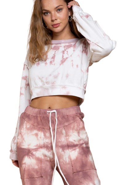 POL Clothing Rose Drop Crop Sweat Shirt in color Rose Drop Tie Dye Style Number SMT1639;Women's cropped sweatshirt;women's spring sweat shirt;Women's Modern Chic Clothing and Accessories;tie dye cropped sweatshirt;POL Clothing;Women's Online Clothing and Accessories Boutique;Shopbfree;Bfree_boutique;bfreebabe;MyBfreeStyle;Valentine's Gift Idea;Women's Spring Knits;Women's Spring Fashion